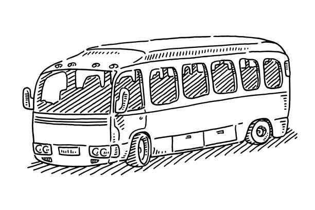Bus Public Transportation Symbol Drawing Hand-drawn vector drawing of a Bus Public Transportation Symbol. Black-and-White sketch on a transparent background (.eps-file). Included files are EPS (v10) and Hi-Res JPG. transportation stock illustrations