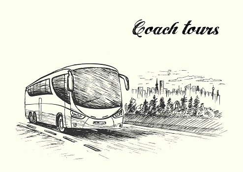 Bus quickly moving on highway, sketch style, vector
