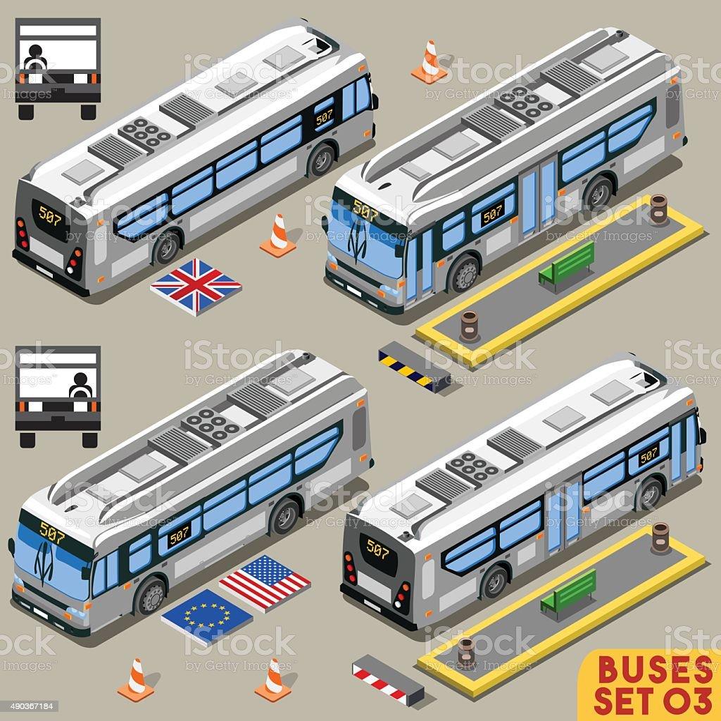 Bus Set 03 Vehicle Isometric vector art illustration
