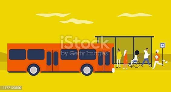 istock Bus station. Daily commute. Public transportation. Flat editable vector illustration, clip art. Urban scene 1177123690