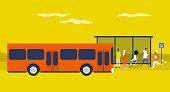Bus station. Daily commute. Public transportation. Flat editable vector illustration, clip art. Urban scene