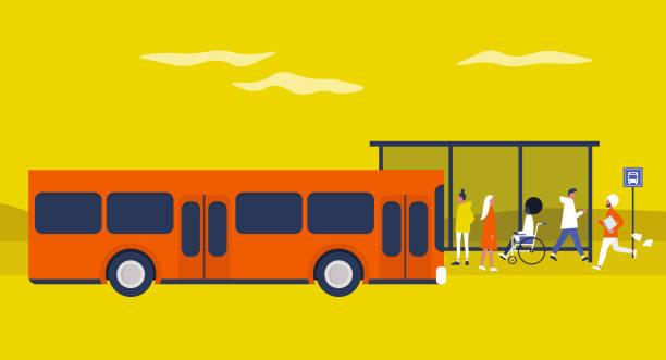 バスステーション。毎日の通勤。公共交通機関。フラット編集可能なベクトルイラスト、クリップアート。アーバンシーン - 通勤点のイラスト素材/クリップアート素材/マンガ素材/アイコン素材