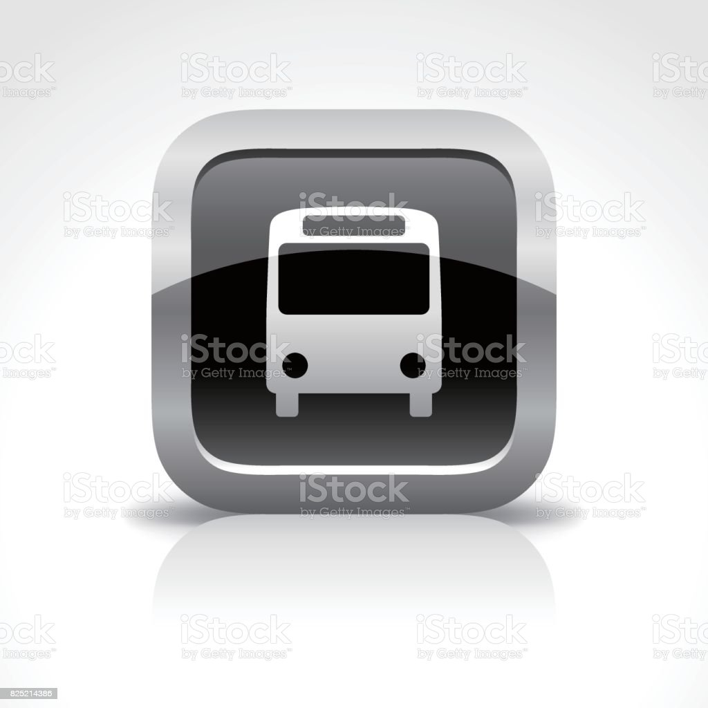 Bus Station Glossy Button Icon vector art illustration