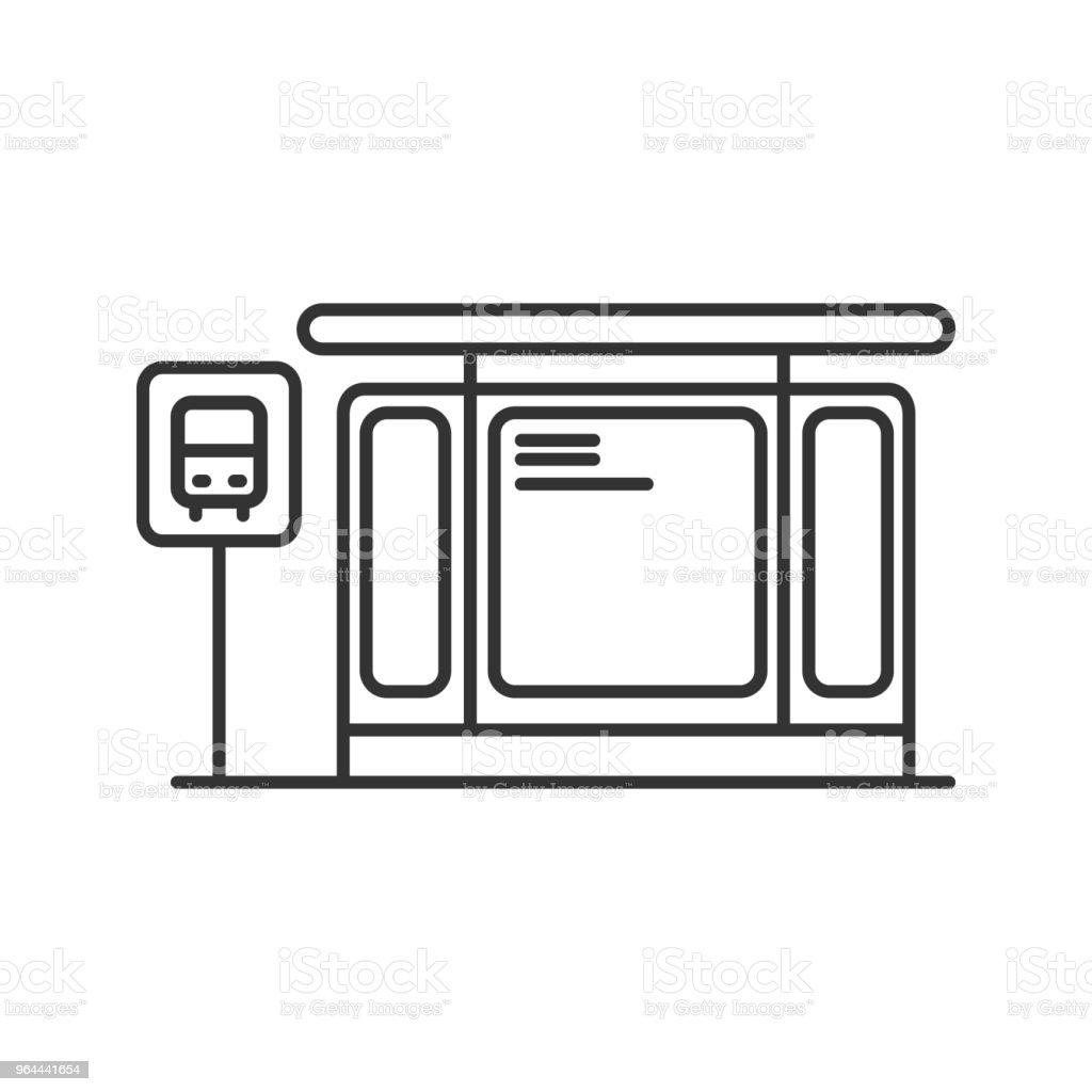 Ícone da estação de ônibus - Vetor de Arte royalty-free