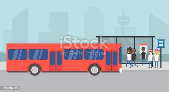 Bus station. Passengers waiting for a bus. Cityscape. Urban scene. Public transportation. Flat editable vector illustration, clip art