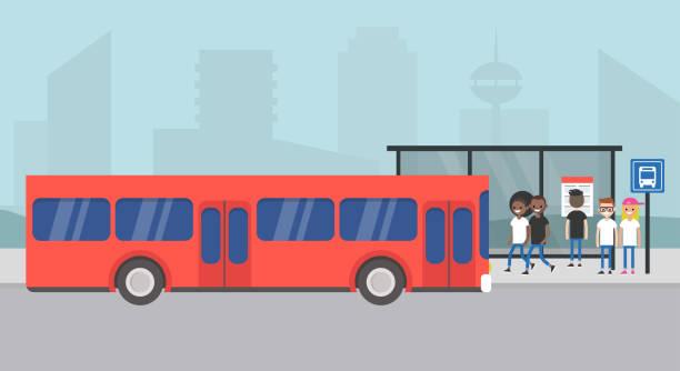 ilustraciones, imágenes clip art, dibujos animados e iconos de stock de estación de autobuses. a la espera de un autobús de pasajeros. paisaje urbano. escena urbana. transporte público. ilustración de vector completamente editable, prediseñadas - autobús