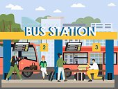 Bus station terminal, flat vector illustration. Passengers with book, camera, suitcase waiting for bus.