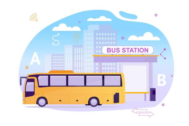 Busbahnhof mit Fahrzeug warten auf Psssengers. – Vektorgrafik