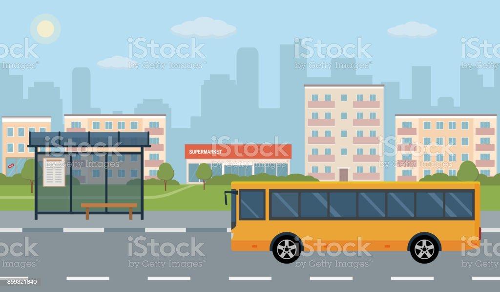 Arrêt de bus et bus sur fond de ville. - Illustration vectorielle