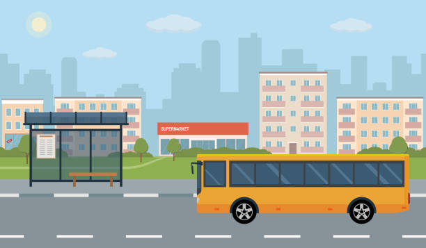 Bus stop and bus on city background. Bus stop and bus on city background. Vector illustration. Flat style concept of public transport. urban road stock illustrations
