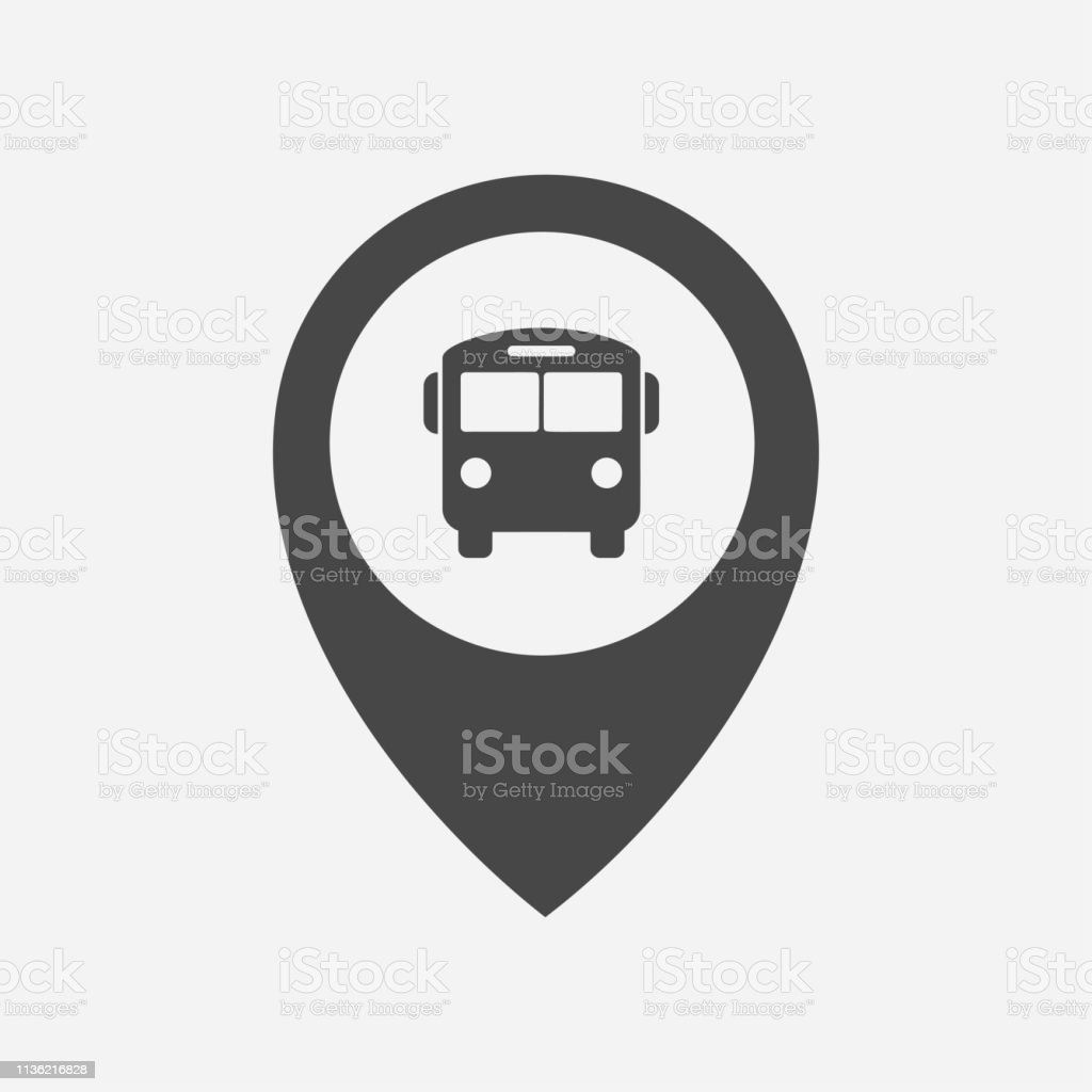 Bus Stop Bus Station Location Marker Icon Stock Illustration