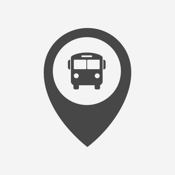 stockillustraties, clipart, cartoons en iconen met bushalte/bus station locatie marker icon - bushalte