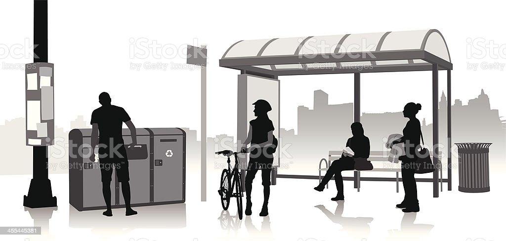 Bus Stop City royalty-free stock vector art