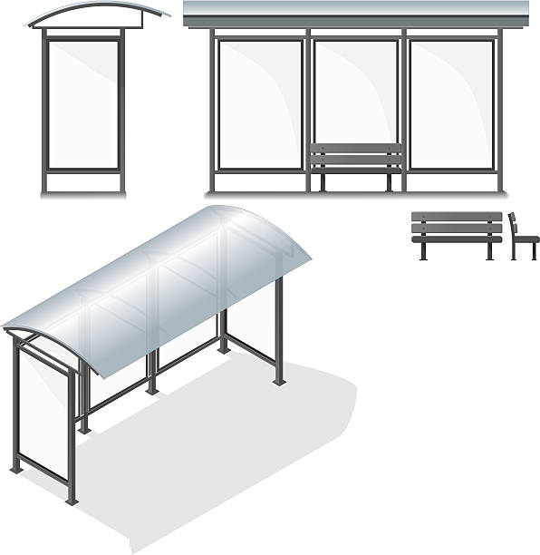 stockillustraties, clipart, cartoons en iconen met bus stop. empty design template for branding - bushalte