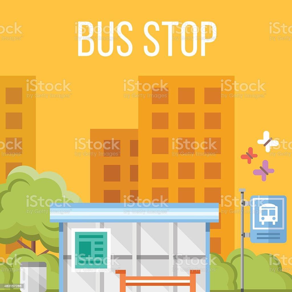 Arrêt de Bus. Plat vector illustration - Illustration vectorielle