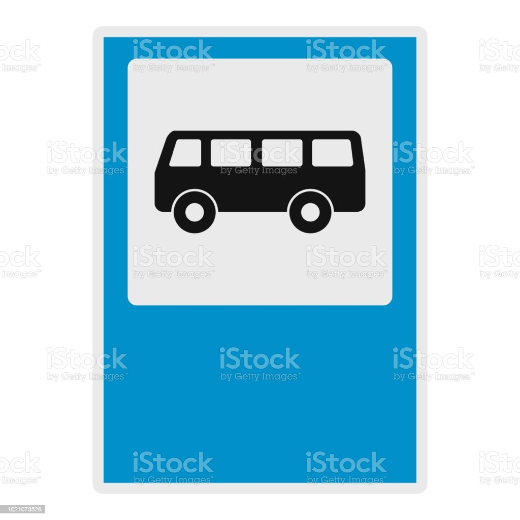 Bus Stop Icon Flat Style Stock Illustration - Download Image