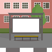 Bus stop in front of building background. Vector illustration design for bus station.