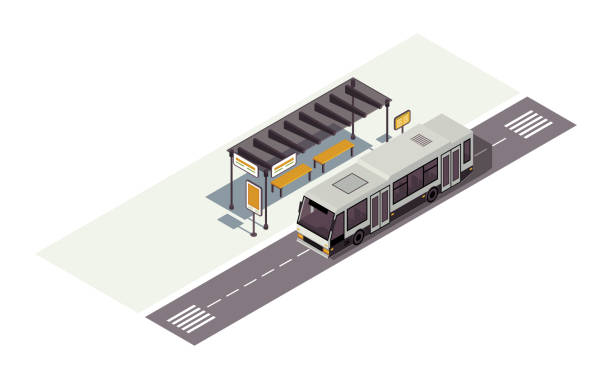 Bus stop isometric color vector illustration. Waiting station. Public urban transportation infographic. City transport. Town traffic. Auto 3d concept isolated on white background Bus stop isometric color vector illustration. Waiting station. Public urban transportation infographic. City transport. Town traffic. Auto 3d concept isolated on white background driveway stock illustrations