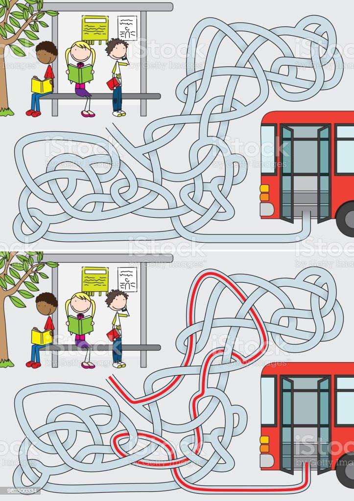 Bus stop maze - Royalty-free Bus stock vector