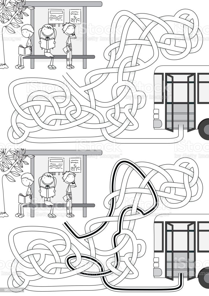 Bus stop maze - Royalty-free Black Color stock vector