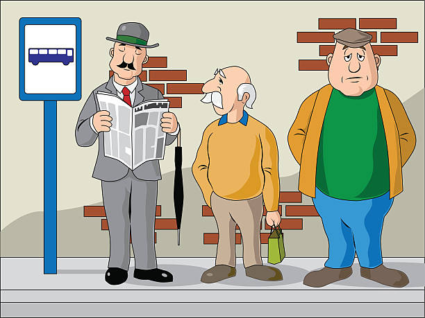stockillustraties, clipart, cartoons en iconen met bus stop people - overhemd en stropdas
