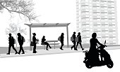 A vector silhouette illustration of a bus stop at a busy road with a young woman riding a scooter and an apartment building in the background.