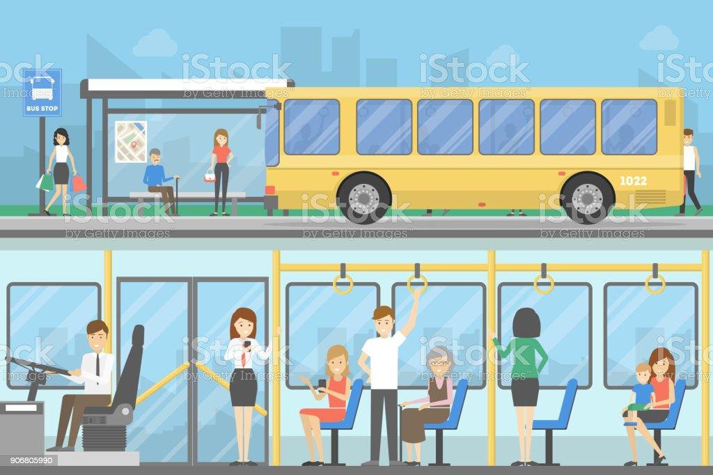 Jeu de l'arrêt de bus. - Illustration vectorielle