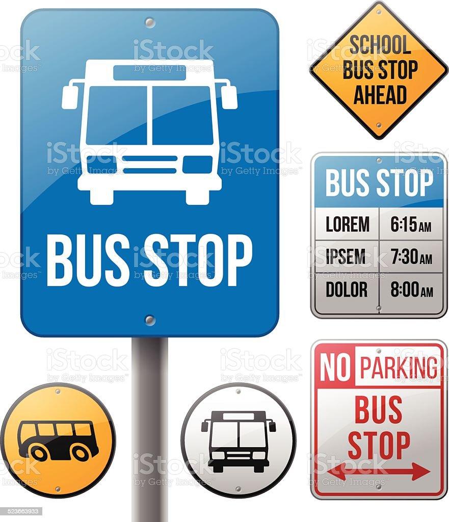 Les panneaux indiquant l'arrêt de Bus - Illustration vectorielle
