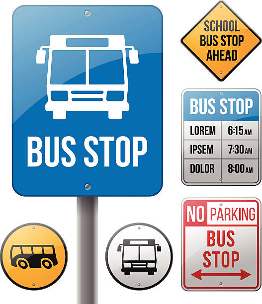 stockillustraties, clipart, cartoons en iconen met bus stop signs - bushalte