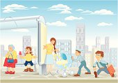 vector illustration of people on the bus stop