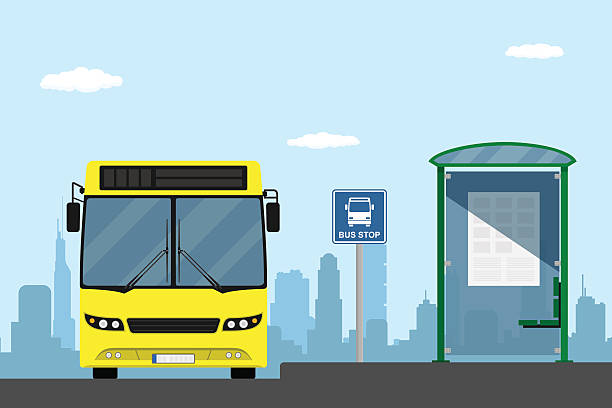 stockillustraties, clipart, cartoons en iconen met bus stop - bushalte