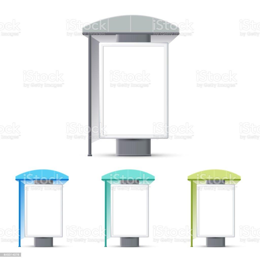 Arrêt de bus avec une bannière publicitaire, cesse de faire des bannières publicitaires, un stand à l'exposition - Illustration vectorielle
