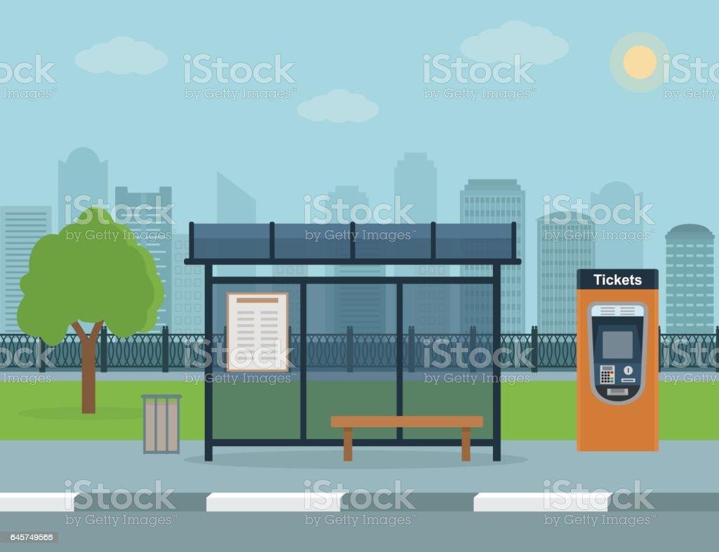 Arrêt de Bus avec city-plan. - Illustration vectorielle