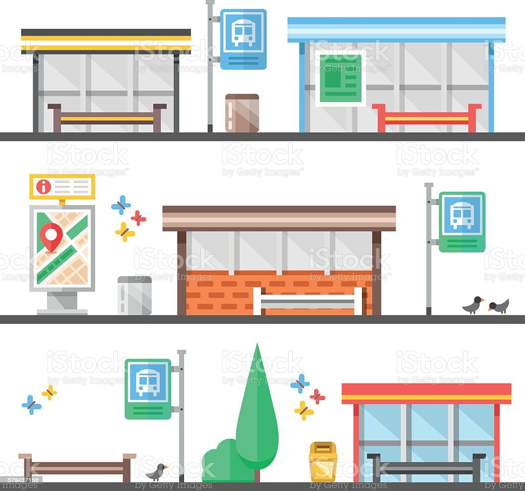 Bus stops, outdoor, city elements set. Modern flat vector illustration - Illustration vectorielle