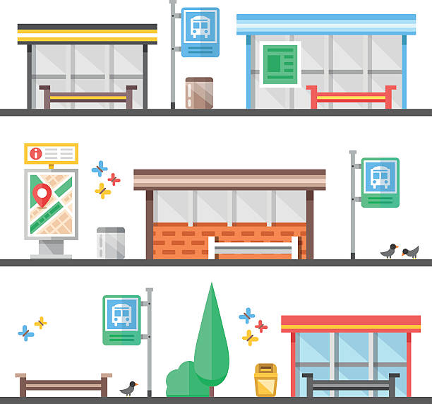 stockillustraties, clipart, cartoons en iconen met bus stops, outdoor, city elements set. modern flat vector illustration - bushalte