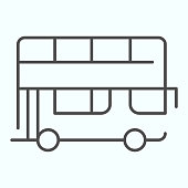 Bus thin line icon. Double-decker bus vector illustration isolated on white. London city tour bus outline style design, designed for web and app. Eps 10