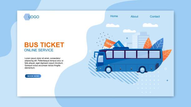 Bus Ticket Online Service Web Design Flat Cartoon. – Vektorgrafik