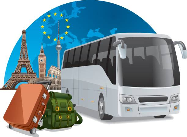 bus-tour in europa - tour bus stock-grafiken, -clipart, -cartoons und -symbole