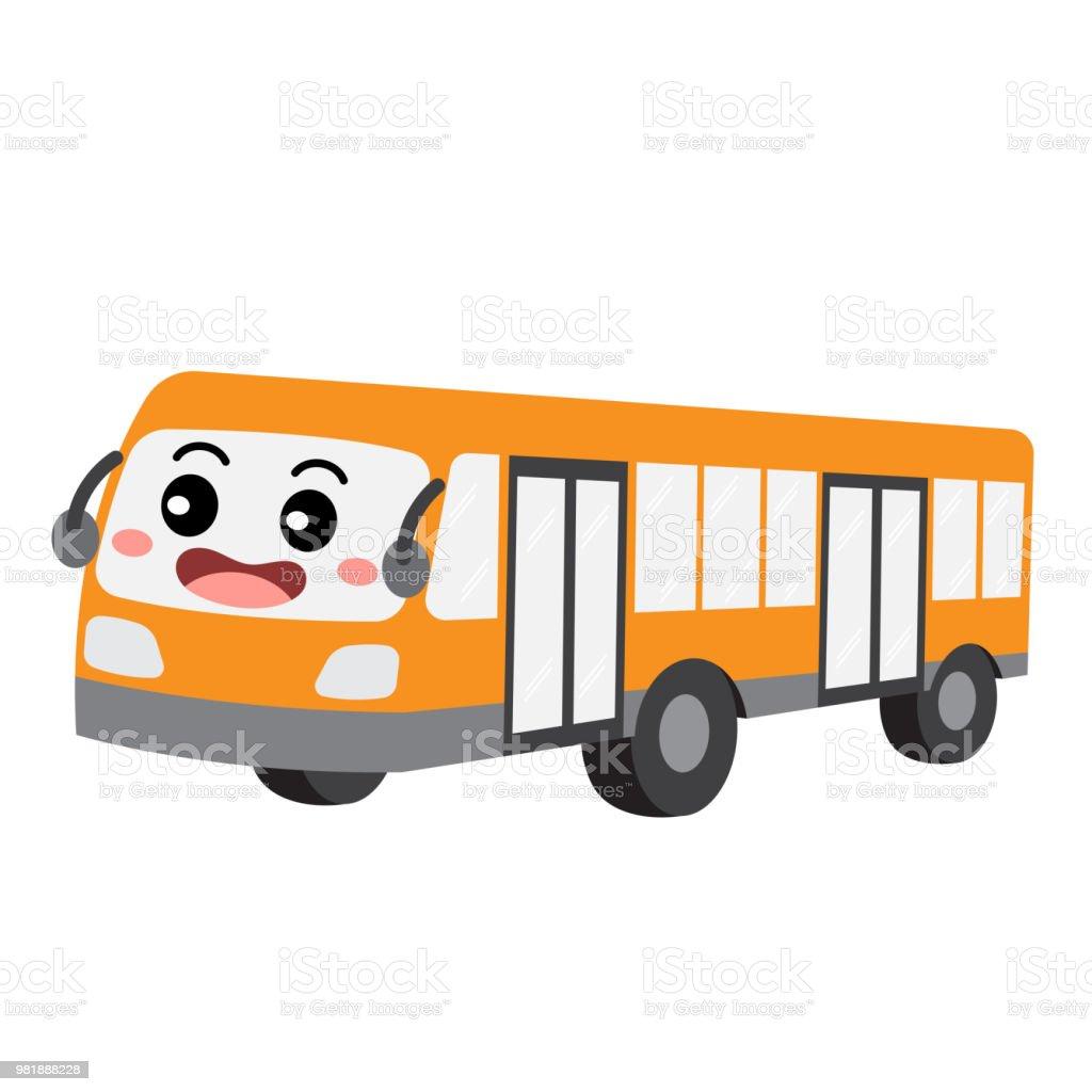 バス交通漫画文字投影ビュー ベクトル イラスト - 3dのベクターアート