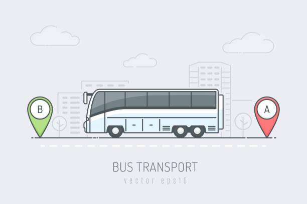ilustraciones, imágenes clip art, dibujos animados e iconos de stock de autobús de viaje - autobús