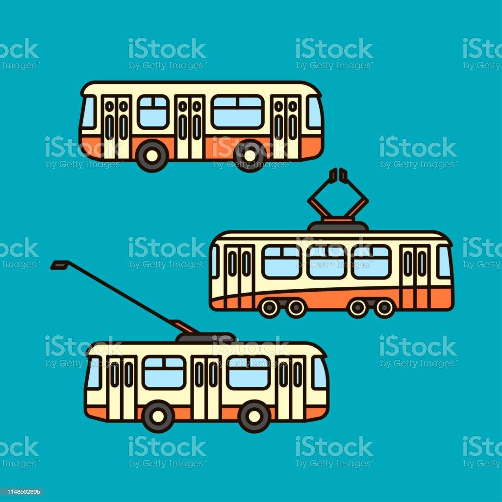 Bus, Trolleybus, Straßenbahn – Vektorgrafik