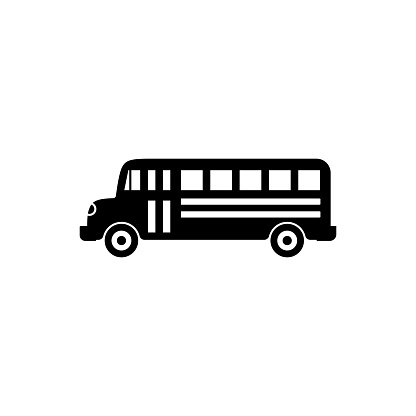 Bus vector icon in trendy flat design