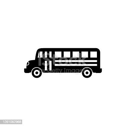 istock Bus vector icon in trendy flat design 1261062968