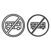 Bus with ban line and solid icon, Warning and caution for covid-19 epidemic concept, bus with cross sign on white background, forbidden to be transported by bus icon in outline style. Vector graphics