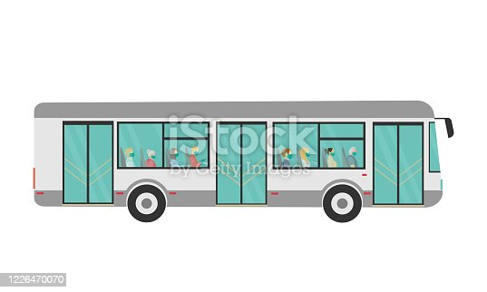 istock bus with people inside in medical masks and gloves, a safe ride, travel. vector illustration 1226470070