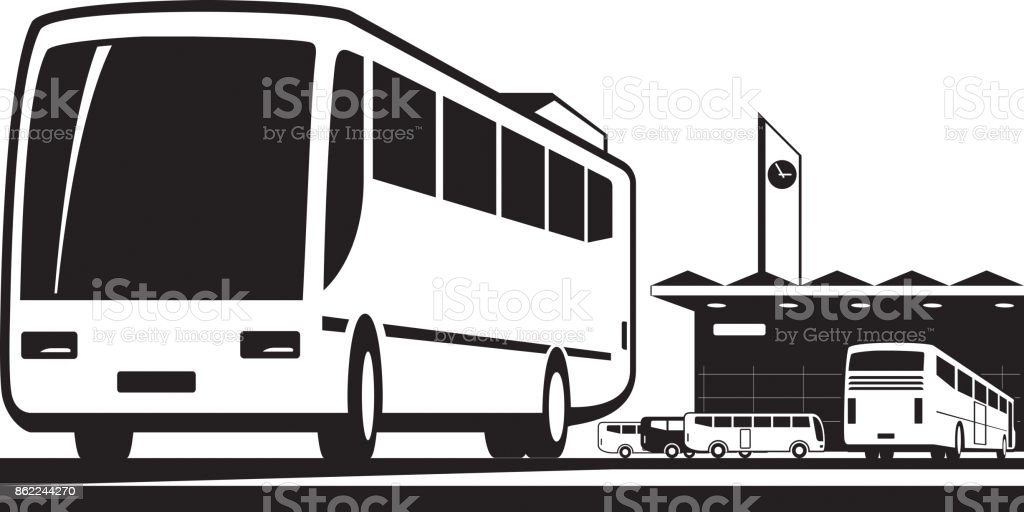 Buses arrive and depart at station vector art illustration