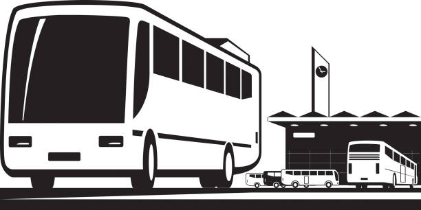 Buses arrive and depart at station Buses arrive and depart at station - vector illustration depart stock illustrations