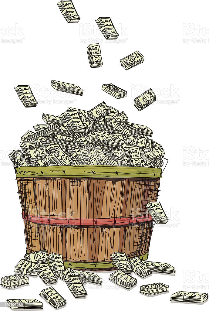 Bushel Basket Filled With Money royalty-free stock vector art