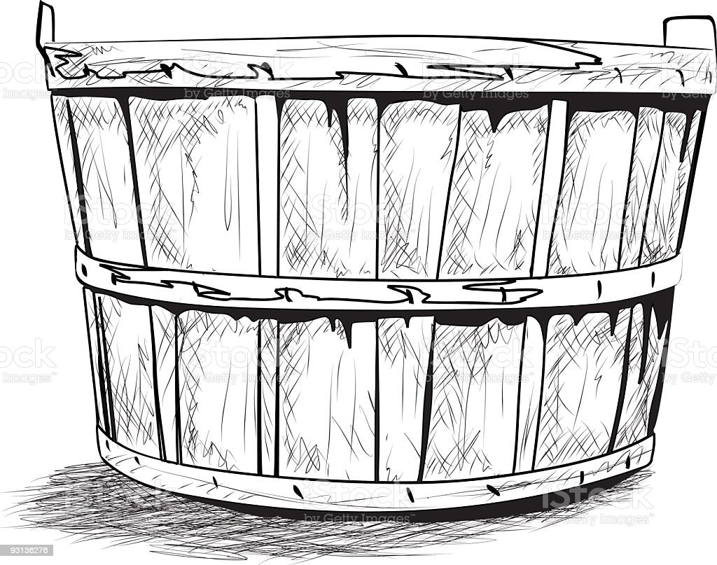 Bushel Basket Ink Sketch royalty-free stock vector art