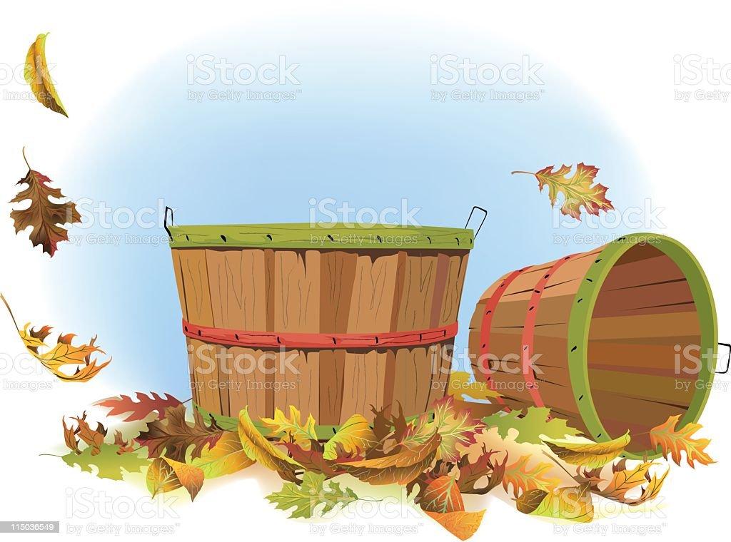 Bushel baskets and fall leaves royalty-free stock vector art